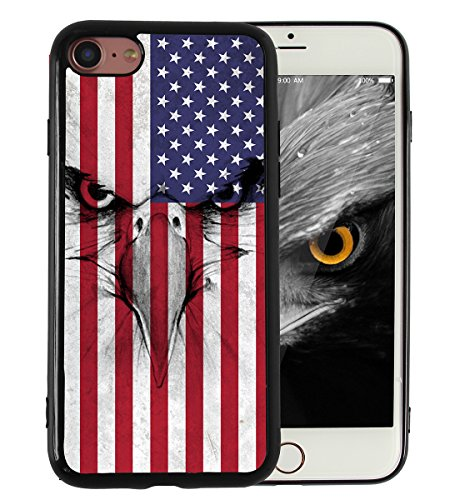 iPhone 7 iPhone 8 Case American Flag Eagle Vintage Print Design Slim Fit in Tough Smooth Black TPU for Boys Men Cool Designs Protective - KITATA (Eagle Flag Confederate)