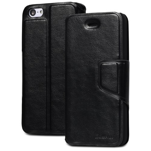 GreatShield SHIFT LX Leather Wallet Case with Card Slots for Apple iPhone 5C (Black)