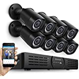 Amcrest Eco-HD 720P (1280TVL) 16CH Video Security System w/ Eight1.0 Megapixel IP67 Weatherproof Bullet Cameras, 65ft Night Vision, Long Distance Transmit Range (1,640ft), Pre-Installed 2TB HD