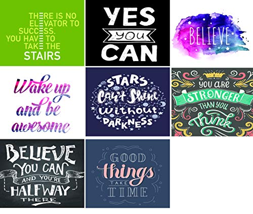 - Inspirational & Motivational Quote Note Cards- 24 pack- 8 unique designs with envelopes