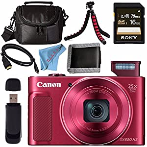 Canon PowerShot SX620 HS Digital Camera (Red) 1073C001 + Sony 16GB SDHC Card + Micro HDMI Cable + Small Case + Memory Card Wallet Bundle