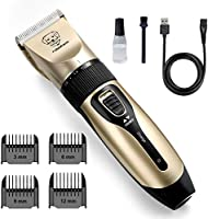 rabbitgoo Dog Grooming Clippers, Rechargeable Pet Hair Trimmer Set, Professional Electric Shaver Hair Remover Kit with 4...