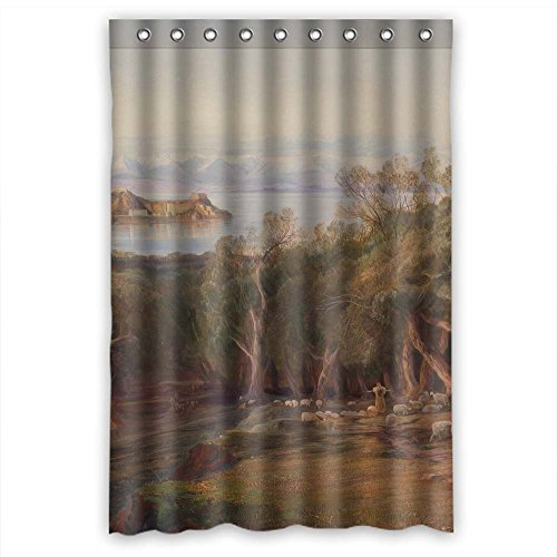 PILZOO Polyester Beautiful Scenery Landscape Painting Bath Curtains Width X Height / 48 X 72 Inches / W H 120 By 180 Cm Gift Or Decor For Gf Girls Mother Him Kids. Easy Care - (Whites Tree Frog Care)