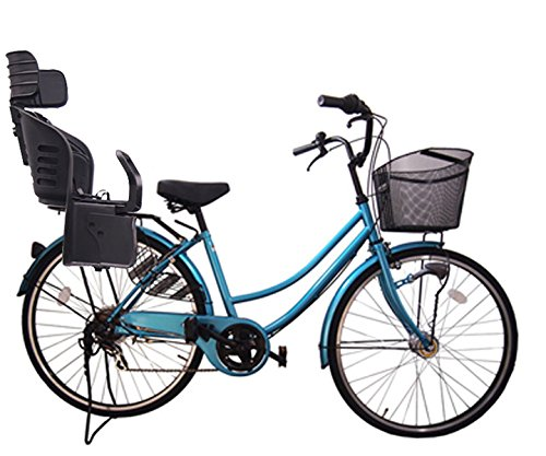 Lupinusルピナス 自転車 26インチ LP-266UA-KNRJ-BK 軽快車 シマノ外装6段ギア オートライト 樹脂製後子乗せブラック B073LG1ZVF ライトブルー ライトブルー