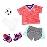 """Our Generation Soccer Outfit with Neon Jersey for 18"""" Dolls"""