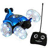 Blue RC Remote Controlled Stunt Car with 360? Front Wheels for Flipping, Spinning and Racing, Lights Up & Music by Dimple