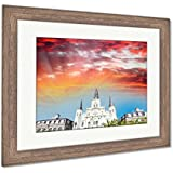 Ashley Framed Prints Saint Louis Cathedral in New Orleans, Wall Art Home Decoration, Color, 34x40 (Frame Size), Rustic Barn Wood Frame, AG6113344