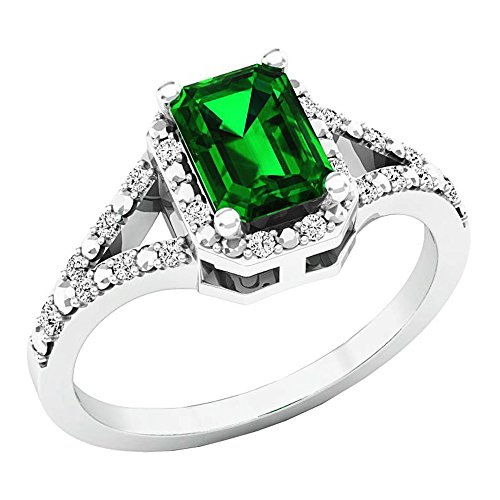 Dazzlingrock Collection Sterling Silver 7X5 MM Emerald Cut Lab Created Emerald & Diamond Engagement Ring, Size 7