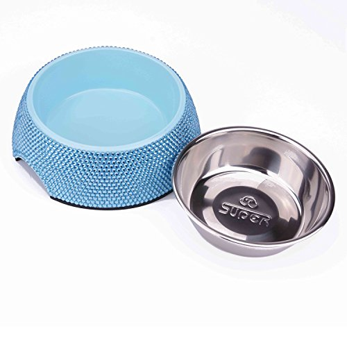 SUPER DESIGN Classic Removable Stainless Steel Bowl in High Gloss Anti-Skid Round Melamine Stand,for Dog or Cat M