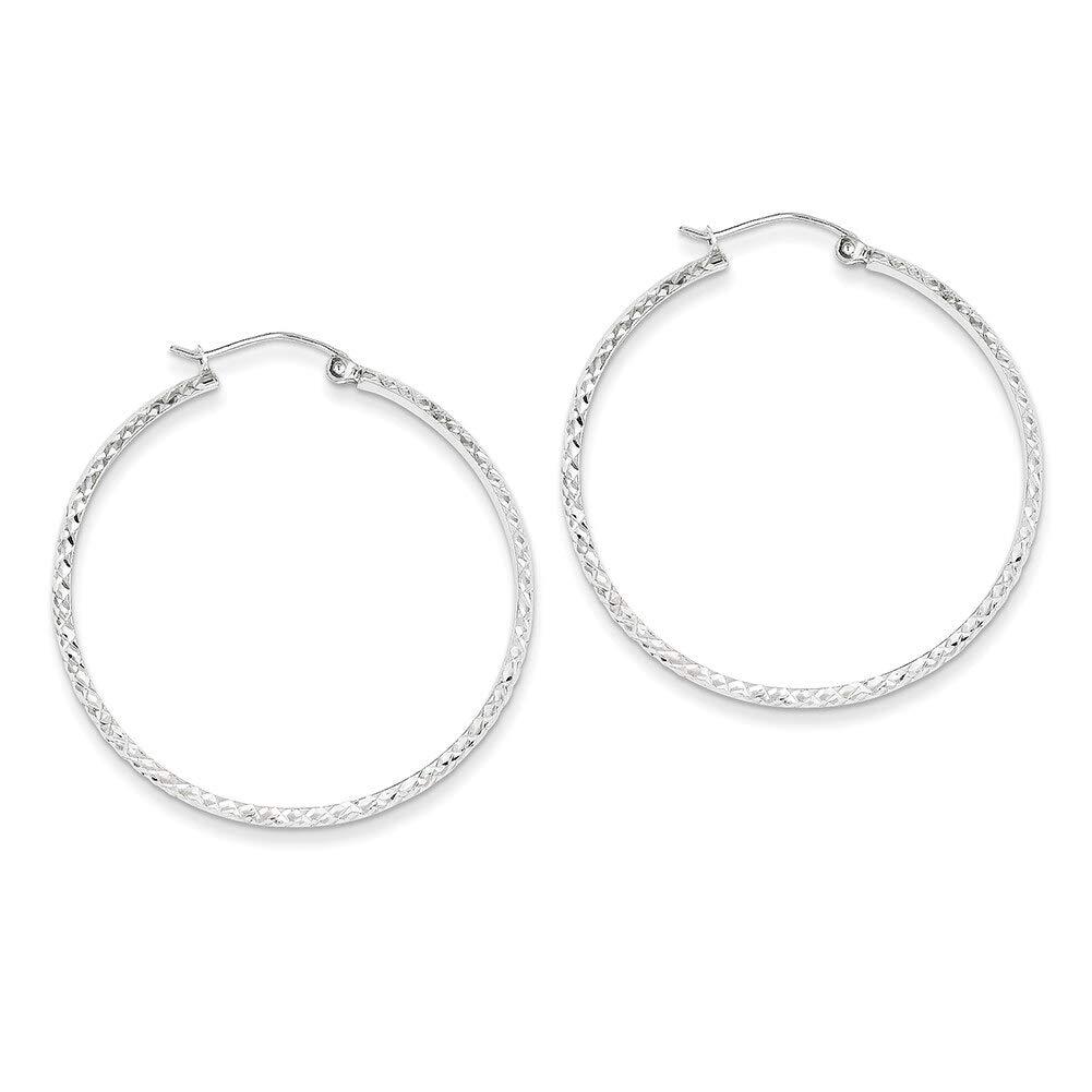 Lex /& Lu 14k White Gold D//C 2.8x37mm Hollow Hoop Earrings