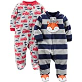 Simple Joys by Carter's Baby Boys' 2-Pack Fleece Footed Sleep and Play, Navy Fox/Gray Fire Trucks, 3-6 Months