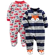 Simple Joys by Carter's Baby Boys' 2-Pack Fleece Footed Sleep and Play, Navy Fox/Gray Fire Trucks, Preemie