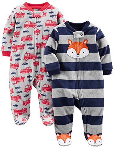 Simple Joys by Carter's Baby Boys' 2-Pack Fleece Footed Sleep and Play, Navy Fox/Gray Fire Trucks, 0-3 Months ()