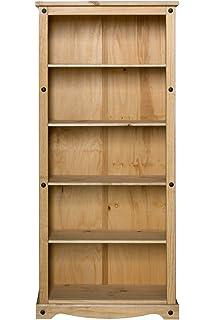 White//Distressed Waxed Pine 83.5x29.5x101 cm Seconique Corona Low Bookcase