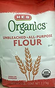 HEB Organics Unbleached All-Purpose Flour 5 Lb (Pack of 2)