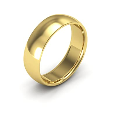 14K Yellow Gold men s and women s plain wedding bands 6mm fort