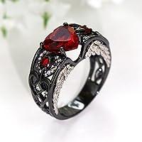 LALISA Heart Shape Red Garnet Cz Black Gold Filled Angel Wings Women Wedding Ring Gift (8)