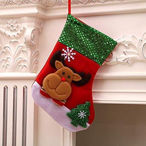 siphly Medias de Navidad Grande Calcetines de Navidad Aguinaldo Decoracion Bolsa de Caramero Retro Hechos a Mano Juego de 3 Piezas