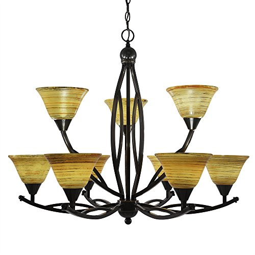 454 Bow - Toltec Lighting 279-BC-454 Bow 9 Light Chandelier Shown in Black Copper Finish with 7-Inch Firre Saturn Glass