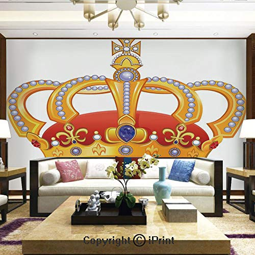Lionpapa_mural Nature Wall Photo Decoration Removable & Reusable Wallpaper,Royal Crown with Gem Like Image Symbol of Imperial Majestic Print,Home Decor - 100x144 inches ()