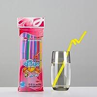 Wination 50 stuks kleur rusbare rietjes plastic kunst kerst rietjes lange elleboog sap drinken rietjes