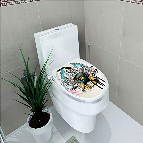 (Toilet Custom Sticker,Queen,Artistic Design Arms Shield with Crown Wings and Victorian Floral Elements Imperial,Multicolor,Diversified Design,W12.6