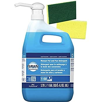 Dawn Professional Dish Detergent Liquid (128 FL oz.) 1 Gallon Bundle — Plus 1 Gallon Size Pump Dispenser and 2 Scrub sponges