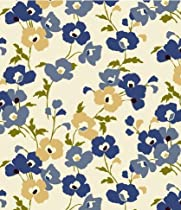 "Blue Poppy Fields Flannel Backed Vinyl Tablecloth - 52"" x 52"" Square"