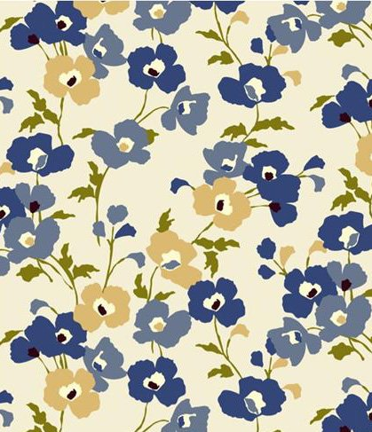 Blue Poppy Fields Flannel Backed Vinyl Tablecloth - 52