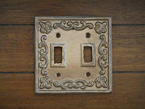 Double Light Switch Plate Cast Iron Switchplate Cover Aged Copper or Pick Your Color Switch Cover Fleur de Lis -