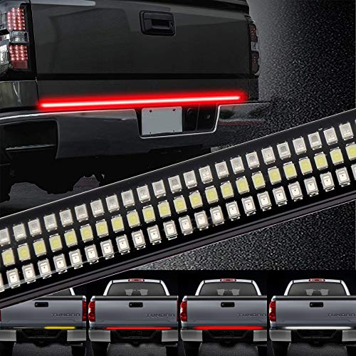 - Tailgate Light Bar ZJUSDO 48'' Triple Row Tailgate Bar with Solid Sequential Amber Turn Signal Brake Reverse Tail Light Bar for Pickup Trailer SUV Ford Chevy GMC Dodge Ram NO Drilling