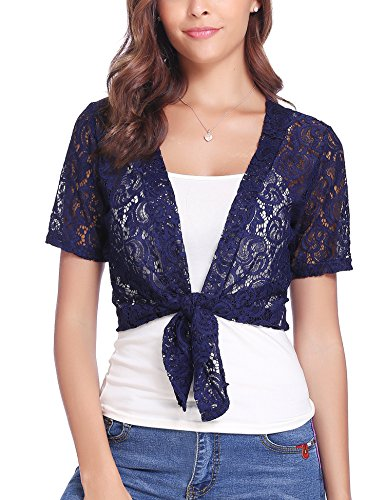 - Abollria Women Tie Front Floral Lace Shrug Open Front Bolero Cardigan