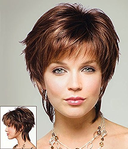 HI GIRL Trendy Copper Chestnut Brown Short Straight Women's Hair Wigs (Costume Ideas For Men With Beards)