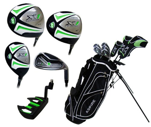 Aspire X1 Men's Complete Set (Right Hand, Regular, Driver, #3 Wood, Hybrid, #6 Thru PW Irons, Putter, Stand Bag and 3 Head Covers)