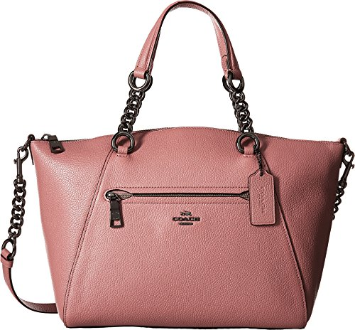 COACH Women's Polished Pebble Leather Chain Prairie Satchel Dk/Dusty Rose One Size