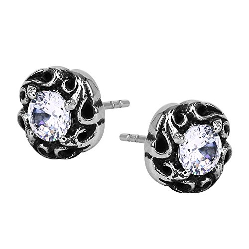 Vintage Lead - Dragon Claw with Black Stone Ball Vintage Punk Stud Earring Surgical Steel Earrings for Men Women (#10 White Zircon)