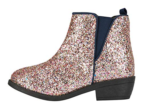 bebe Girls Chunky Glitter Ankle Boots Size 3 with Elastic Dress Shoes Multi ()