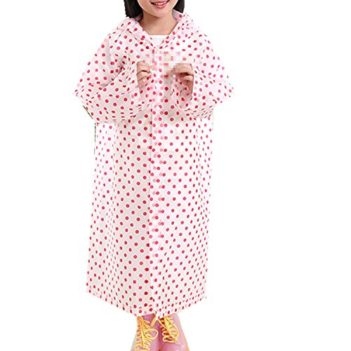 Taiduosheng Age 6-12 Kids Dots Style Hooded Rain Poncho Raincoat Cover Long Rainwear Pink by Taiduosheng