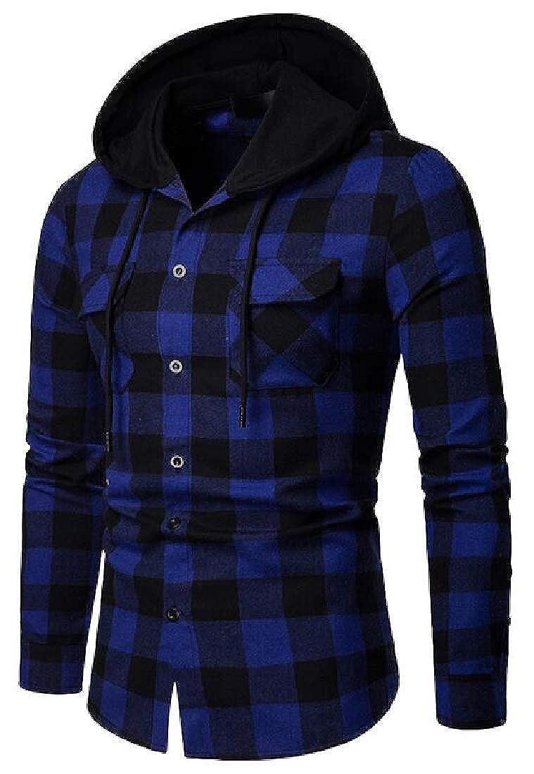 WAWAYA Mens Plaid Print Button Down Casual Slim Hoodie Flannel Checkered Shirt