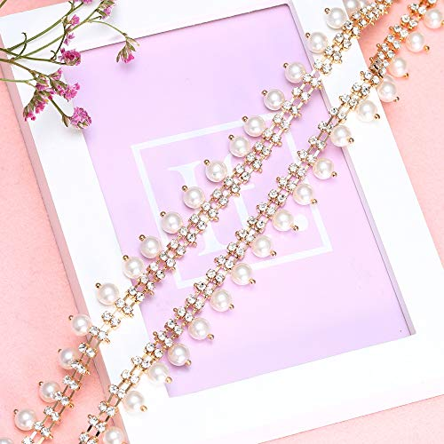 (Beaded Pearls Chain Trim, Lucky Goddness 1 Yard Tassel Fringe Chains with Clear Rhinestone and Gold Chain Claws, Perfect for DIY Dress Clothes Collars, Headpieces, Shoes,Wedding Cake Decoration)