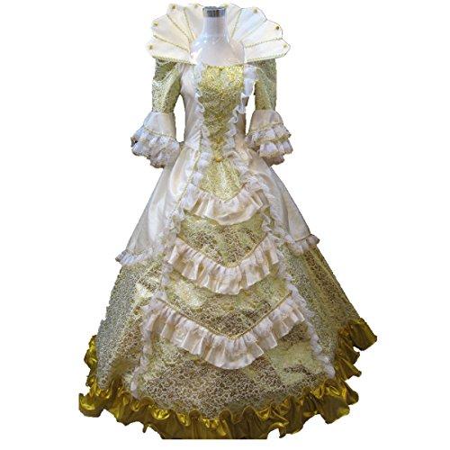[Xnaihuafei Women's Satin Costumes golden Size US 4] (Marie Antoinette Costumes)