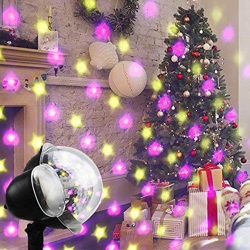 Christmas Projector Lights Outdoor,AVEKI Star and Heart Falling Down Outdoor Landscape Projection Lights with Remote Control for Indoor Outdoor Christmas Halloween Decoration (Star & Heart) ()