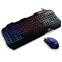 HAVIT Rainbow Backlit Wired Gaming Keyboard and Mouse Combo (Black) [ 2017 Model]