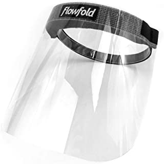 product image for 2-Pack Flowfold Face Shield Masks - Protective Face Shields, Full Face Clear Plastic Anti-Fog Visor Face Shield Made in USA (2 Masks, One Size)