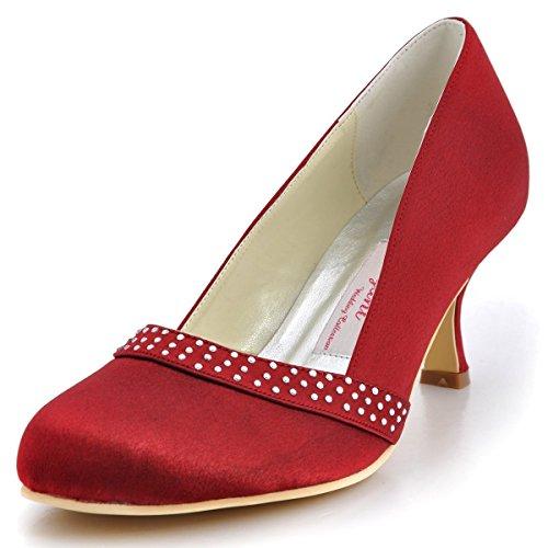 de Rhinestones Rond Escarpins Satin Haut Bal ElegantPark A0718 Femme Talon Aiguille mariee Chaussures Burgundy Bout YPxqw