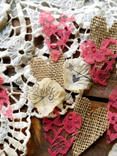 (Rustic Wedding Decorations Burlap And Lace Table Confetti, Rustic Bridal Shower Decor, Coral Sweetheart Table Decorations Wedding)