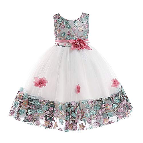 (Pageant Dresses for Girls Pink Embroidery Princess Vestidos para Ninas De Elegant Ruffles Dress 5t 6t M02B130)