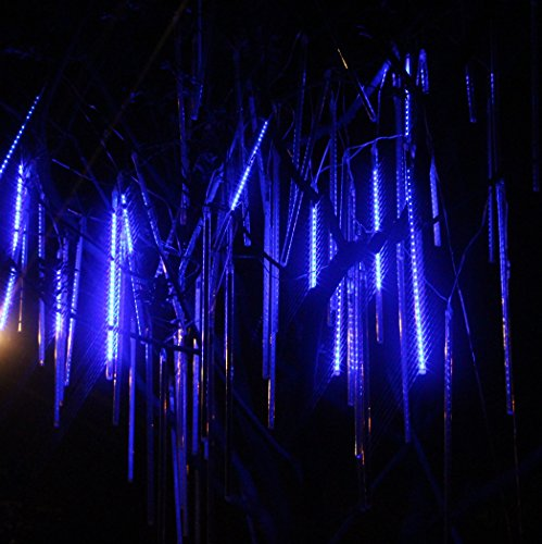 BINGXING 8 Tubes 19.7 inches Meteor Led Light for Indoor Decoration, home, Wedding, Party, Holiday (Blue)