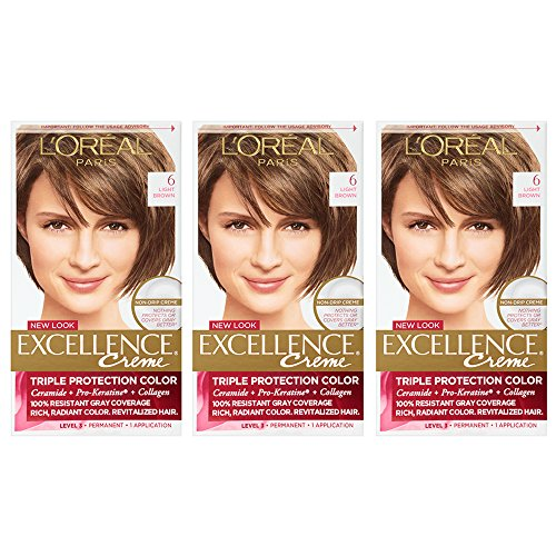 Paris Creme - L'Oreal Paris Excellence Creme, 6 Light Brown, 3 Count, (Packaging May Vary)