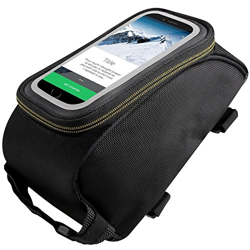 Cido Waterproof Bicycle Cycling Bike Frame Pannier Front Tube Cellphone Bag with Headphone Jack, including Clear